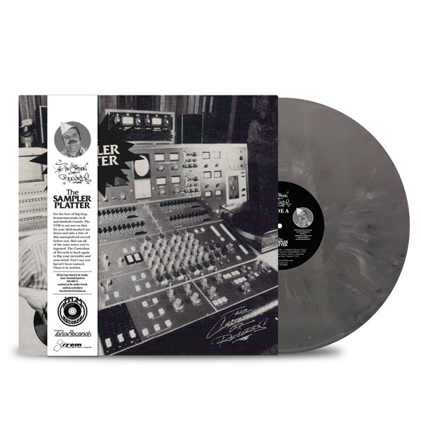 THE CUSTODIAN OF RECORDS - The Sampler Platter Vinyl_OBI_STRIP_GREY MARBLED