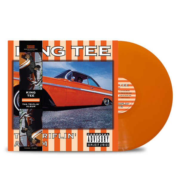 KING_TEE_THA_TRIFLIN_ALBUM_FRONT_Side_Cover_ORANGE_Triflin_Strip_Vinyl_LP