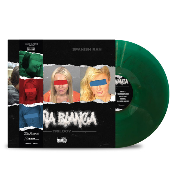 AL_DOE_SPANISH_RAN_DONA_BLANCA_TRILOGY_FRONT_Side_Cover_TRANSPARENT_GREEN_WITH_BLACK_SMOKE_DONA_STRIP_Vinyl_LP