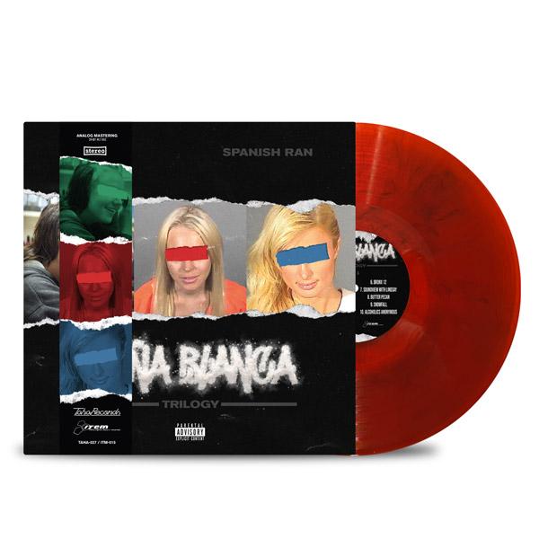 AL_DOE_SPANISH_RAN_DONA_BLANCA_TRILOGY_FRONT_Side_Cover_TRANSPARENT_RED_WITH_BLACK_SMOKE_DONA_STRIP_Vinyl_LP